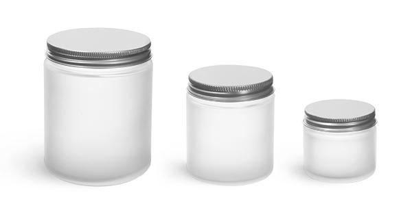 Pot Verre givré bouchon aluminium, frosty glass jar aluminium cap