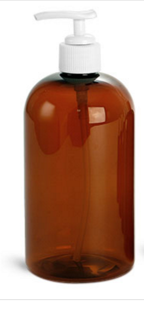 PET Ambre pompe blanc, Amber PET bottle white cap