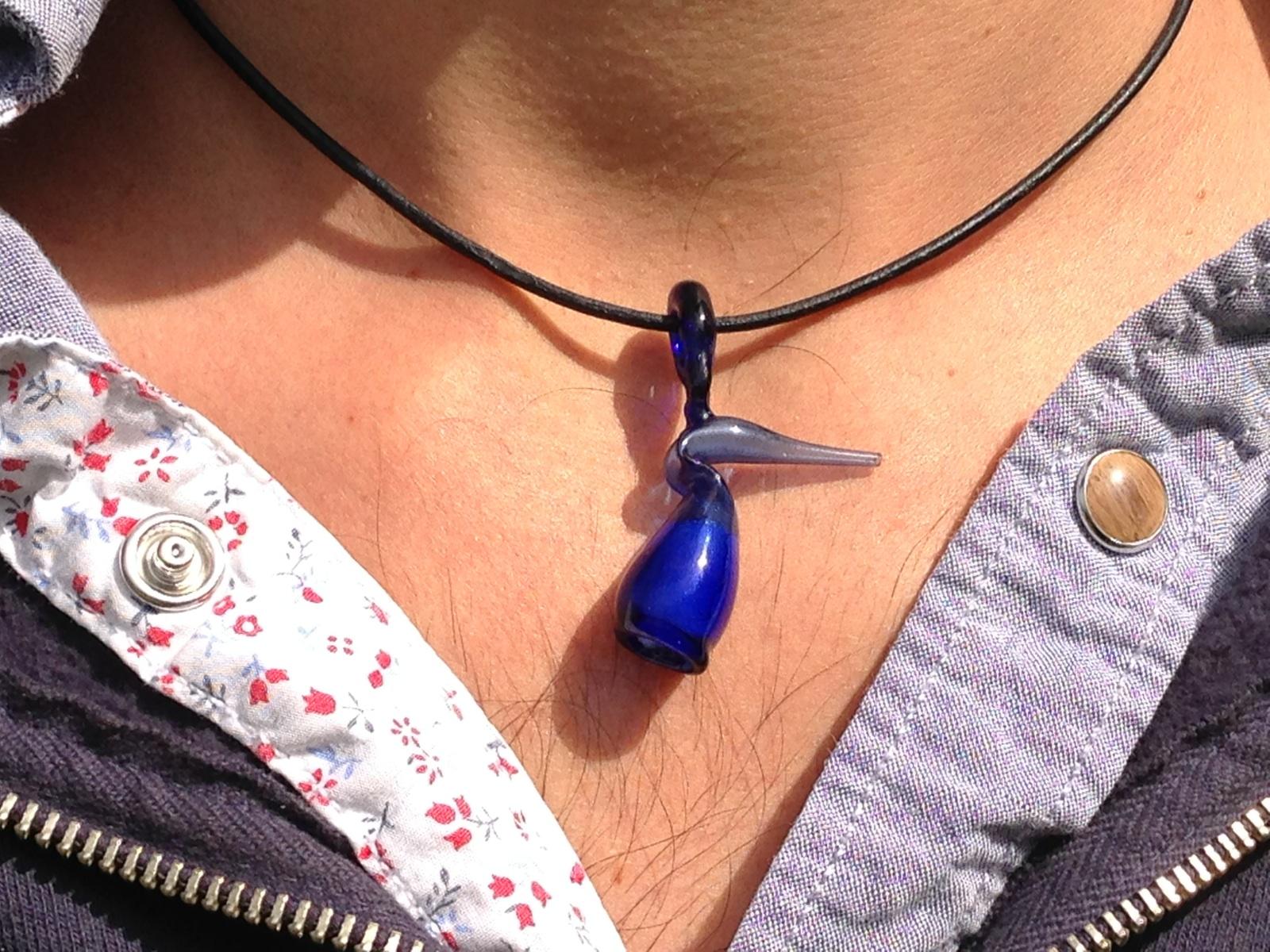 pendentif colibri cobalt
