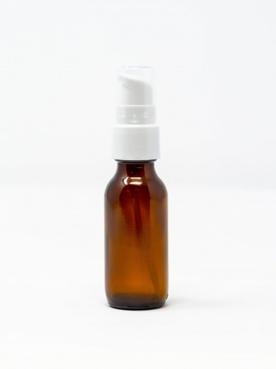 Verre ambre 20GL pompe traitement blanc, amber glass bottle 20GL
