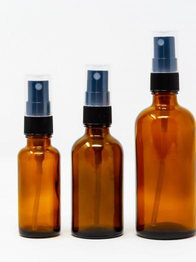 Verre ambré 18GL vaporisateur noir, amber glass bottle 18GL black spray