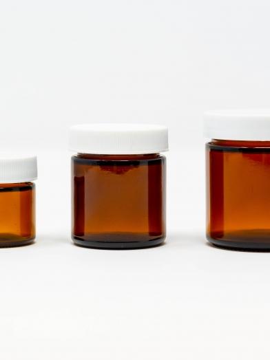 Pot verre ambré bouchon plastique, glass jar plastic cap