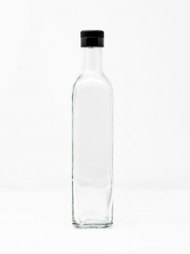 bouteille verre claire 500ML bouchon noir, clear glass bottle 500ML black cap