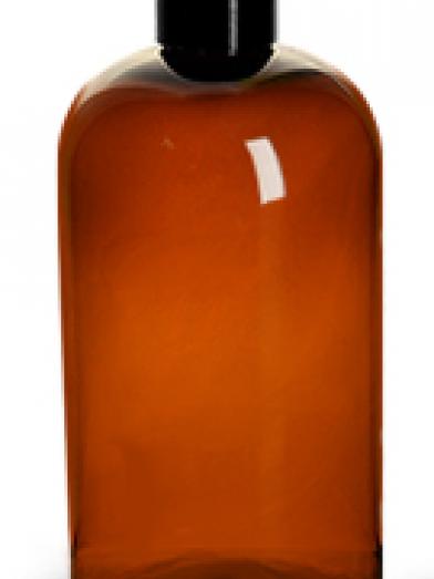 PET Ambre bouchon noir, amber PET bottle black cap